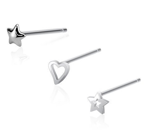 Katy Craig - Confezione speciale di 3 piercing da naso con astina pieghevole (calibro 20), a forma di stella e cuore, in vero argento sterling 925, forniti in un sacchetto