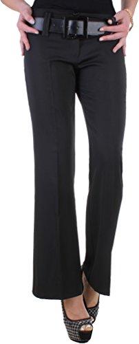 BD Damen Business-Hose Schlaghose schwarz Stoffhose mit Bügelfalte Schwarz