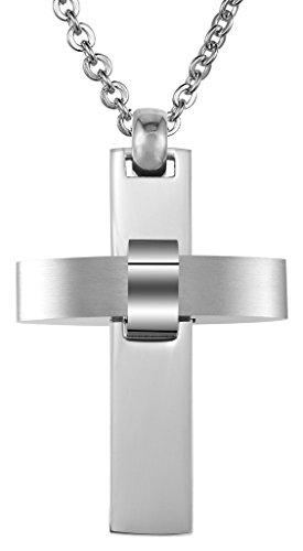 Uomo Ciondolo in acciaio inox argentea Christian Cross lucida Finito 3 * 4.5CM con catena a caso di AieniD