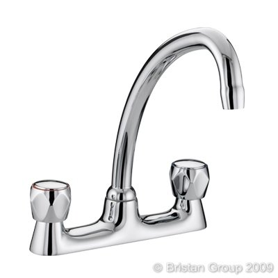 Bristan VAC BDSM C MT Club Budget Deck Sink Mixer with Metal Heads - Chrome Plated