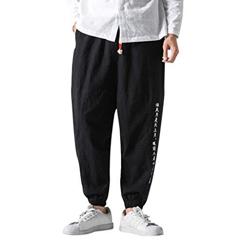 Herren Leinen-Hose Lange Hose Bequeme Stoffhose aus hochwertiger Leinenmischung Retro Füße Hosen Hip Hop Kampfhose Cargo Chino Hose