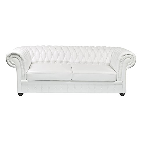 Classic Chesterfield 3-Sitzer Sofa weiss Sofa Outlet Leder