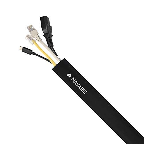 Navaris guaina raccogli cavi in poliestere - 203cm passacavi con chiusura a strappo per nascondere fili elettrici pc tv - fermacavo flessibile nero