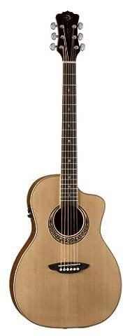 Luna MUS PAR-BM Muse Parlour Size Electro Acoustic Guitar with Celtic Design Rosewood Inlay