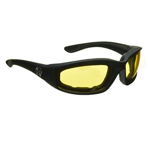 Choppers Nachtfahrreit Padded Motorradbrille 011 Black Frame mit gelben Linsen 2 Schwarz Mittel Schwarz Gelb