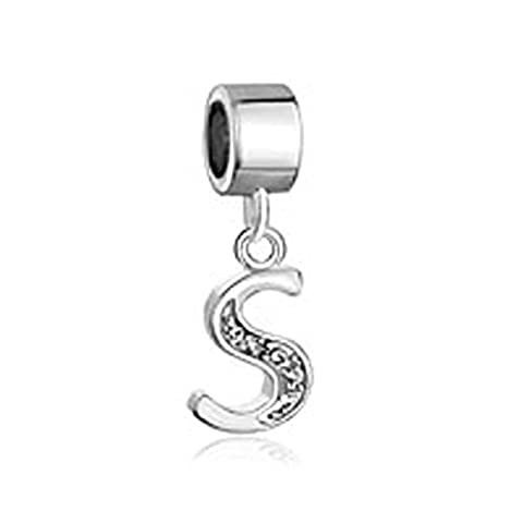 Uniqueen Sale Dangle A-Z Alphabet Initials Letter CZ Crystal Cheap Charm Beads fits pandora, chamilia & troll Bracelets (S)
