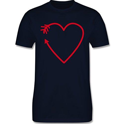 Romantisch - Herz Pfeil - Herren Premium T-Shirt Navy Blau