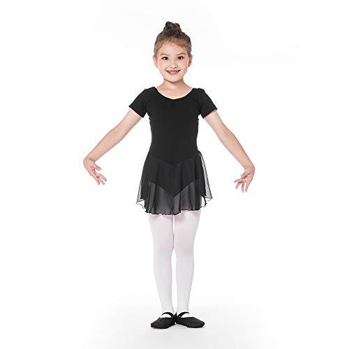 Kinder Kurzarm Ballettkleid aus Baumwolle mit Chiffon Kleider Ballett Trikot Turnanzug für Mädchen Schwarz 130