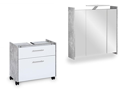 Galdem Badmöbel-Set Elegance mit Waschbeckenunterschrank Spiegelschrank mit LED Beleuchtung Steckdose Badezimmer Bad-Set (Beton Weiß)