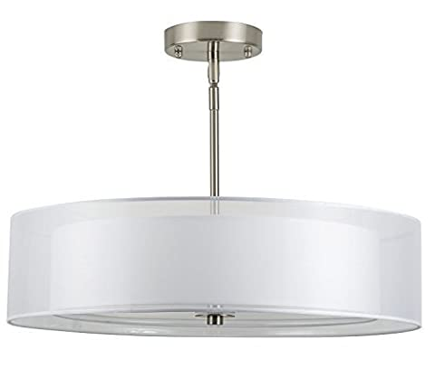 Linea di Liara P117-BN Grazia 20-Inch Three-Light Double Drum Convertible Ceiling Fixture, Brushed Nickel with a White Fabric Shade by Linea di Liara