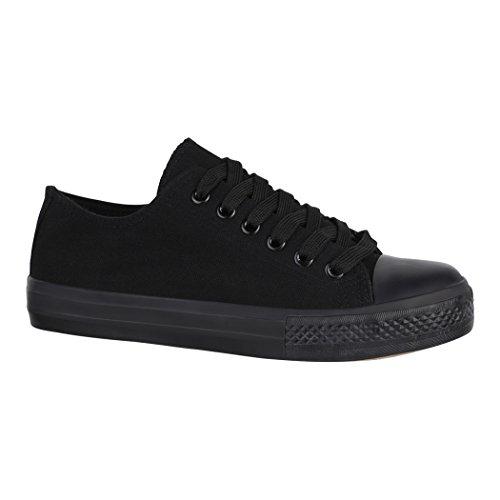 Elara Unisex Sneaker | Bequeme Sportschuhe für Herren und Damen | Low Top Turnschuh Textil Schuhe 36-46 B-YD3230-Allblack-37