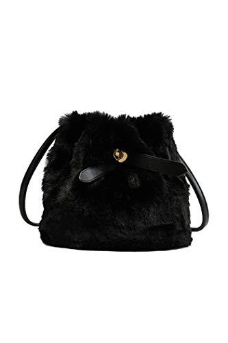 Howoo donne inverno piccolo pelliccia ecologica borsa a tracolla peluche borsetta soffice borsa della benna nero