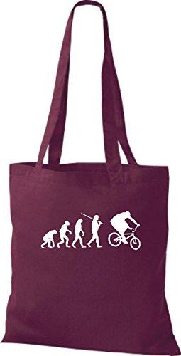 ShirtInStyle Stoffbeutel Jute Evolution Motorrad Fahrrad Biken Stunt Freebike Biker diverse Farbe weinrot