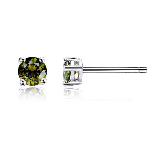 Da donna swarovski elements oliva rotonda stile classico argento 925 orecchini