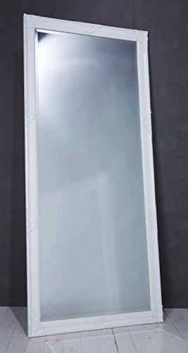 Wholesaler GmbH Eleganter Wandspiegel Spiegel weiß ca. 180 x 80 cm Antik Barock Stil - Garderobenspiegel Ankleidespiegel Holz mit Facettenschliff