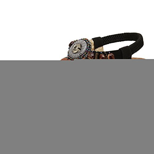 Odomolor Femme à Talon Correct Couleur Unie Divisé Matière Souple Élastique Sandales à Tong Noir