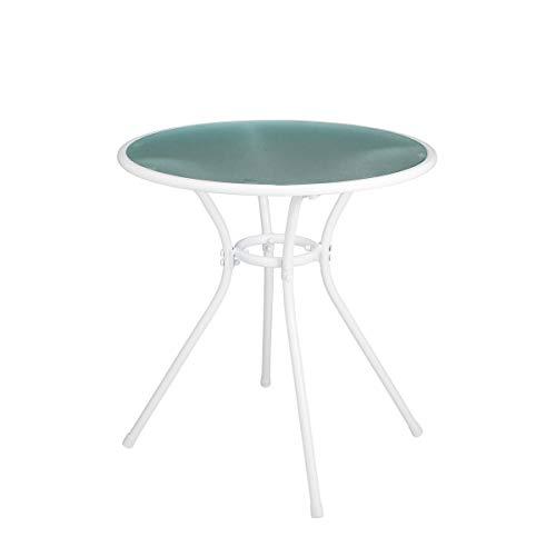 silvertree Bistrotisch Anne | 71 cm x Ø 69 cm | Tischplatte aus Glas | Wetterbeständig | Tisch | Gartentisch