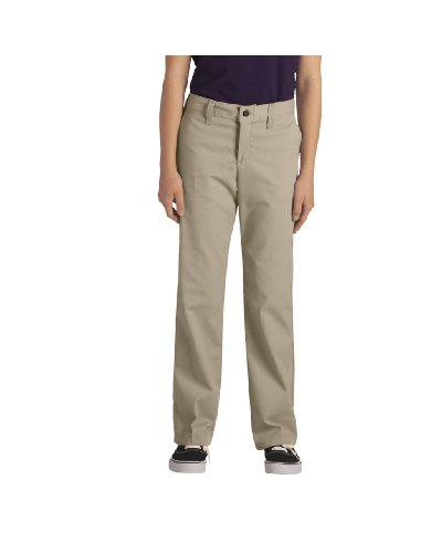Dickies - - Kp3111 Mädchens Stretch Brustleistentasche Flare Pant Bottom (4 - 6x), 5 x Regular, Khaki (Flare Pant Bottom Mädchen)