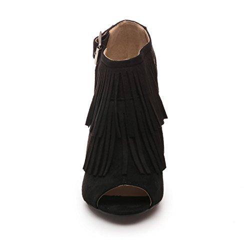 Toe Nero Fashionista Stivali Camoscio Peep Donna Alla Caviglia In Gli xwA7q7