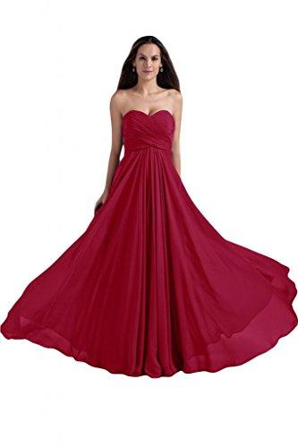 Sunvary Liebling Herzform Abendkleider Lang Chiffon Cocktailkleider Brautjungfernkleider Partykleider Weinrot