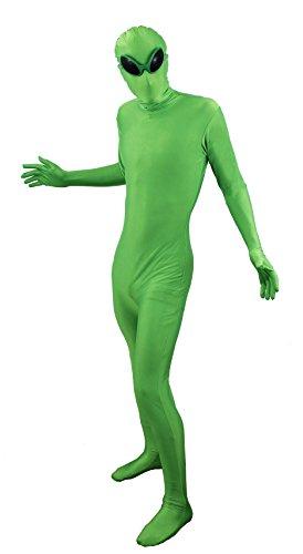 ILOVEFANCYDRESS® Alien Fancy Kleid Skin Suit Kostüm Halloween Martian Space Traveller UFO Man rot gold oder grün Skinsuit + Alien Brille M-XL Herren Damen