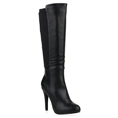 Damen High Heels Stiefel Stiletto Leder-Optik Boots Plateau Schuhe 151958 Schwarz Black 36 Flandell (Stiefel Stiletto Leder)