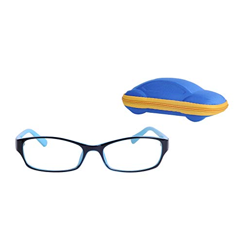 Rechteckig Kinder Brille Ohne Stärke Jungen und Mädchen Alter 5-12 Auswechselbar Klare Linse + Brillenetuis