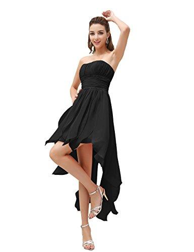 Dressystar Robe de cocktail/bal courte,Sans Bretelles, asymétrique courte devant longue derrière, en Mousseline Noir