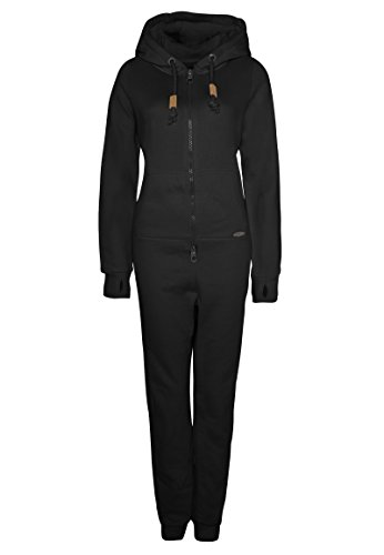 Eight2Nine Damen Sweat Overall | Kuscheliger Jumpsuit | Einteiler aus bequemen Sweat-Material einfarbig Black L/XL - 2