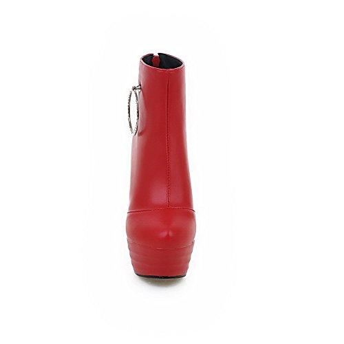 VogueZone009 Femme Haut Bas Couleur Unie Matière Souple à Talon Haut Bottes avec Métal Rouge