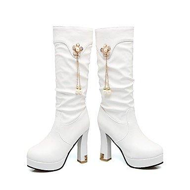 Da donna Scarpe Finta pelle Inverno Stivali Stivaletti Punta tonda Stivali metà polpaccio Perle di imitazione Per Casual Formale Bianco white