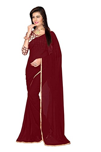 FINEFAB Chiffon Plain Saree (Pack Of 3) (Chifon.Maroon_Maroon)