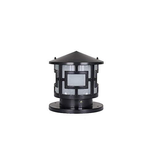 Xungel Außenpfosten-Laterne runde Spalten-Scheinwerfer-Gussaluminiumgehäuse-europäischer Hof-Beleuchtungs-Zaun-Plattform-Landhaus-Säulen-Lampen-Metallaußenweg-Lichter ( Color : Black ) -