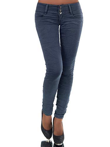N447 Damen Jeans Hose Hüfthose Damenjeans Hüftjeans Röhrenjeans Röhrenhose Röhre, Größen:42 (XL), Farben:Steingrau