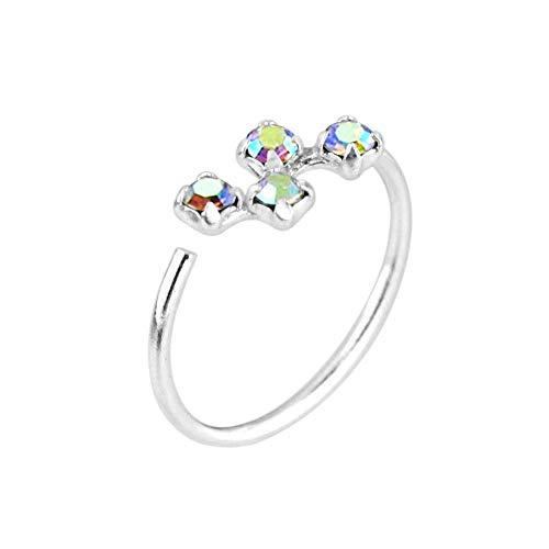 Monster Piercing Klaue Set 4 Runde Rainbow Steinen 20 Gauge 925 Sterling Silber offen Hoop Nase Ring Schmuck (Echtes Sterling Silber Nase Ringe)