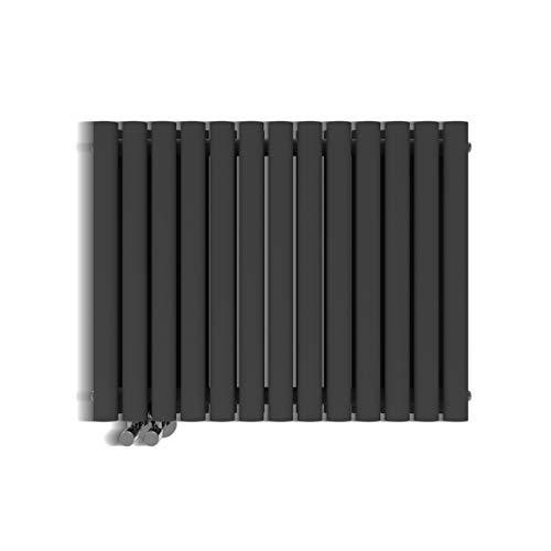 Mordern Heizkörper Röhren 600x760mm Doppellagig Badezimmer/Wohnraum Seitenanschluss Anthrazit Badheizkörper Radiator