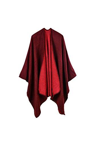 YACUN Damen Winter überdimensioniert Decke Poncho Cape Schal (Wickeln Vorne Verschluss)