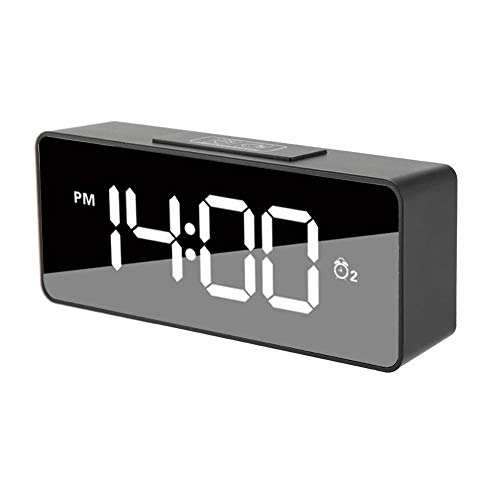 Garsent Reloj Despertador Digital LED con repetición, Brillo Ajustable USB Control de Voz...