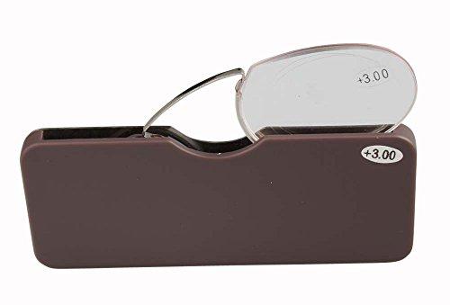 Mini Nase Clip tragbar Lesebrille in einer Slim Case Dünn Optik Brieftasche oder Handy passt. Geeignet für Buch, Computer, Abend reduzieren Belastung der Augen | Damen, Herren … (braun, +2.0) (Handy-braun Brieftasche)