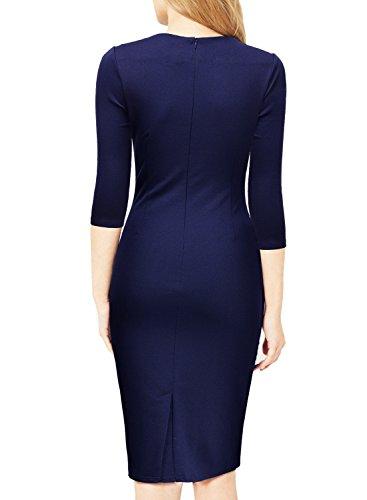 Miusol Damen Abendkleid Rundhals Elegant Kleid 3/4 Arm Etuikleid Cocktailkleid Blau Gr.XL -