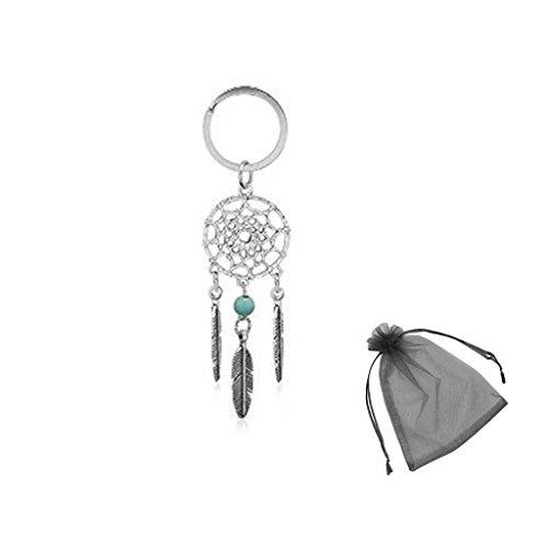 (Schlüsselanhänger Traumfänger Schlüsselring Tribal charme Feder Türkis-Perle, mit kostenlosen Organza-Geschenk-Beutel)