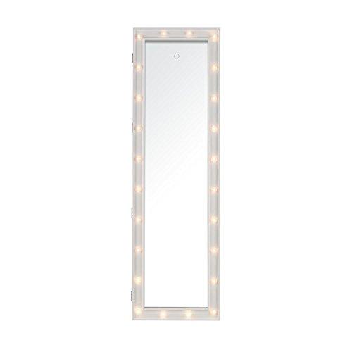 oneConcept Smilla • Schmuckschrank • Schmuckspiegel • Spiegelschrank • Ganzkörper-Spiegel • Maße: 47 x 147 x 37 cm (BxHxT) • Außenbeleuchtung mit 24 LEDs • Türhalterung • Wandhalterung • Material: Holz/MDF • abschließbar • 2 Schlüssel • weiß - 3