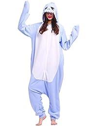 Kigurumi Pijama Animal Entero Unisex para Adultos con Capucha Cosplay Pyjamas Tiburón Azul Ropa de Dormir