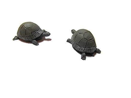 Ravissant ensemble de 2 miniatures Gris tortues échelle 1/12ème accessoire de jardin Fée)