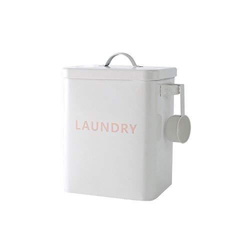 Baffect Haushaltswäsche Pulver Aufbewahrungsdose mit Schaufel,3 kg Metall Waschpulver Zinn Waschpulver Aufbewahrungsbox Behälter und Scoop zum Speichern von Waschmittel Tabletten (weiß) (Metall-waschmittel-behälter)