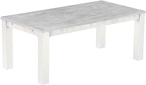 Brasilmoebel Esstisch Rio Classico 200 x 100 cm - Pinie Massivholz Farbton Beton - Weiß - in 27 Größen und 50 Farben - über 1000 Varianten -...