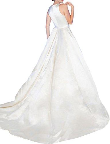 Gorgeous Bride Sexy Brautkleider LangV-Ausschnitte A-Linie Satin Abendkleider Lang Festkleider Ballkleider Silver