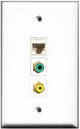 RiteAV-1Port Cinch-Anschluss Gelb und 1x Grün und 1Port Cat6Ethernet weiß Wall Plate Decora Insert Flush