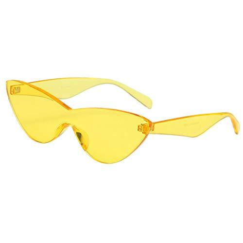 Baoblaze Frauen Retro Transparent Cat Eye Sonnenbrille Randlos Brillen Bunt - Gelb