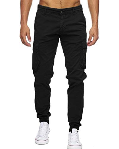 INCERUN Herren Cargo Lange Hose Regular Fit Casual Pants Multi-Pocket Freizeithosen schwarz 34